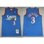 NBA Philadelphia 76ers #3 Allen Iverson throwback blue Hardwood Classics Jersey