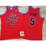 NBA Brooklyn Nets #5 Jason Kidd Red 2006-07 Hardwood Classics Jersey