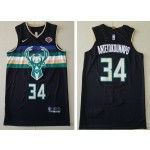 NBA Milwaukee Bucks #34 Giannis Antetokounmpo Black Nike New Jersey