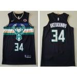 NBA Milwaukee Bucks #34 Giannis Antetokounmpo Black Nike New Jersey