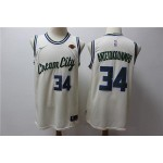 NBA Milwaukee Bucks #34 Giannis Antetokounmpo Cream 2020 City Edition Nike Swingman Jersey