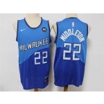 Milwaukee Bucks #22 Khris Middleton 2020-21 Blue City Edition Swingman Jersey