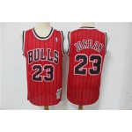 NBA Chicago Bulls #23 Michael Jordan Red Stripe Hardwood Classics Jersey
