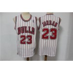 NBA Chicago Bulls #23 Michael Jordan White Stripe Hardwood Classics Jersey