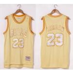NBA Chicago Bulls #23 Michael Jordan Gold Hardwood Classics Jersey