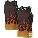 NBA Bulls #91 Dennis Rodman Black 1997-98 Hardwood Classics Flames Swingman Jersey