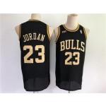 Men's Chicago Bulls #23 Jordan Black Gold Throwback 2021 NBA Jersey