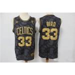 NBA Boston Celtics #33 Larry Bird Black Gold Nike jersey