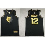 NBA Memphis Grizzlies Morant #12 Black Gold new Jersey