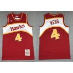 NBA Throwback Atlanta Hawks Spud Webb #4 red Hardwood Classics Jersey