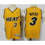 Men's Miami Heat #3 Dwyane Wade Yellow Nike Swingman 2021 Earned Edition Stitched Jersey