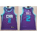 Men's Charlotte Hornets #2 LaMelo Ball Purple 2020-21 Swingman Jersey