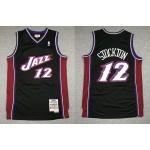 NBA Jazz #12 John Stockton Black Hardwood Classics Jersey
