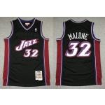NBA Jazz #32 Karl Malone Black Hardwood Classics Jersey