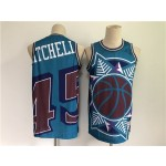 Men's Utah Jazz #45 Donovan Mitchell Blue Big Face Throwback Stitched Jersey