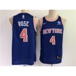New York Knicks #4 Derrick Rose Blue Swingman Jersey