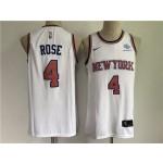 New York Knicks #4 Derrick Rose White Swingman Jersey