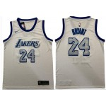 NBA Lakers 24 Kobe Bryant White Blue Nike Swingman Jersey
