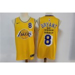 NBA Los Angeles Lakers #8 Kobe Bryant Yellow 20-21 new Swingman Jersey