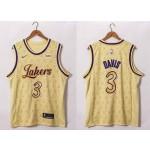 NBA Lakers #3 Anthony Davis 20-21 Yellow LV Swingman  Jersey