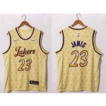 NBA Lakers #23 Lebron James 20-21 Yellow LV Swingman  Jersey