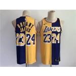 Men's Los Angeles Lakers #24 Bryant #23 James purple yellow split special 2021 nike nba jersey
