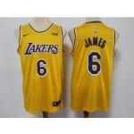 NBA Los Angeles Lakers #6 Lebron James Yellow 2021 Nike Swingman Jersey