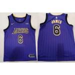NBA Los Angeles Lakers #6 Lebron James Purple Stripe 2021 Nike Swingman Jersey