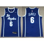 Los Angeles Lakers #6 Lebron James 2020-21 Blue Classic Swingman Jersey