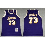 NBA Throwback Lakers #73 Dennis Rodman Purple Hardwood Classics Jersey