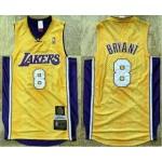 Men's Los Angeles Lakers #8 Kobe Bryant Yellow 2001-02 Hardwood Classics Soul AU Throwback Jersey