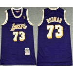 Men's Los Angeles Lakers #73 Dennis Rodman Purple 1998-99 Hardwood Classics Soul Swingman Stitched NBA Throwback Jersey