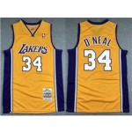 Los Angeles Lakers #34 Shaquille O'Neal 1999-00 Gold Hardwood Classics Jersey
