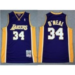 Los Angeles Lakers #34 Shaquille O'Neal 1999-00 Purple Hardwood Classics Jersey