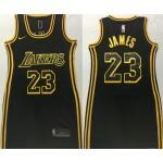 Women Los Angeles Lakers #23 Lebron James Black Gold Swingman Jersey
