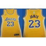 Women Los Angeles Lakers #23 Lebron James Yellow Swingman Jersey