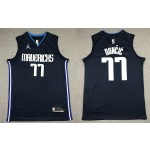 NBA Dallas Mavericks #77 Luka Doncic Navy Blue Jordan Authentic New Jersey