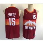 Men's Denver Nuggets #15 Nikola Jokic Red 2021 City Edition NBA Swingman Jersey