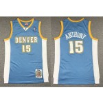 NBA Nuggets #15 Carmelo Anthony Light Blue Hardwood Classics Jersey