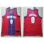 NBA Detroit Pistons #0 Andre Drummond Red City Edition Nike Jersey