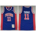 Pistons #11 Isiah Thomas Blue 1988-89 Hardwood Classics Jersey