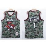 NBA Raptors #1 Tracy McGrady Green Camo 1996-97 Hardwood Classics Jersey