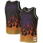 NBA Raptors #1 Tracy McGrady Black 1998-99 Hardwood Classics Flames Swingman Jersey