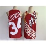 Men's Houston Rockets #34 Hakeem Olajuwon Red Big Face Stitched Jersey