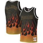 NBA Rockets #34 Hakeem Olajuwon Black 1993-94 Hardwood Classics Flames Swingman Jersey