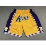 NBA Los Angeles Lakers #8 & 24 Kobe Bryant Yellow Shorts