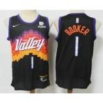 Men's Phoenix Suns #1 Devin Booker Black 2021 City Edition NBA Swingman Jersey With The Sponsor Logo