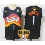 Men's Phoenix Suns #1 Devin Booker Black 2021 Finals Patch City Edition NBA Swingman Jersey