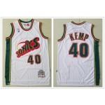 NBA Seattle SuperSonics #40 Shaw Kemp White 1995-96 Hardwood Classics Jersey