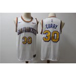NBA Golden State Warriors #30 Stephen Curry White Nike Retro Jersey